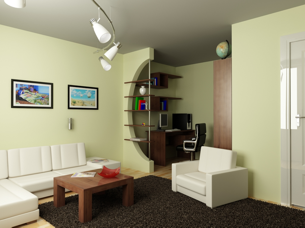 One-room apartment-as can be divided into two zones.